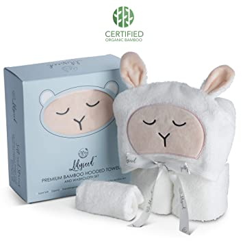 Premium Hooded Baby Towel and Washcloth Set - Organic Soft Bamboo Baby  Towels with Hood for f52357fa3
