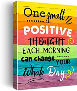 Inspirational One Small Positive Thought Poster Canvas Wall Art for Home Bedroom Living Room Decor - Rustic Farmhouse Motivational Sign Canvas Print Wall Art Ready to Hang Decoration Gifts - Easel & Hanging Hook 12x15 Inch