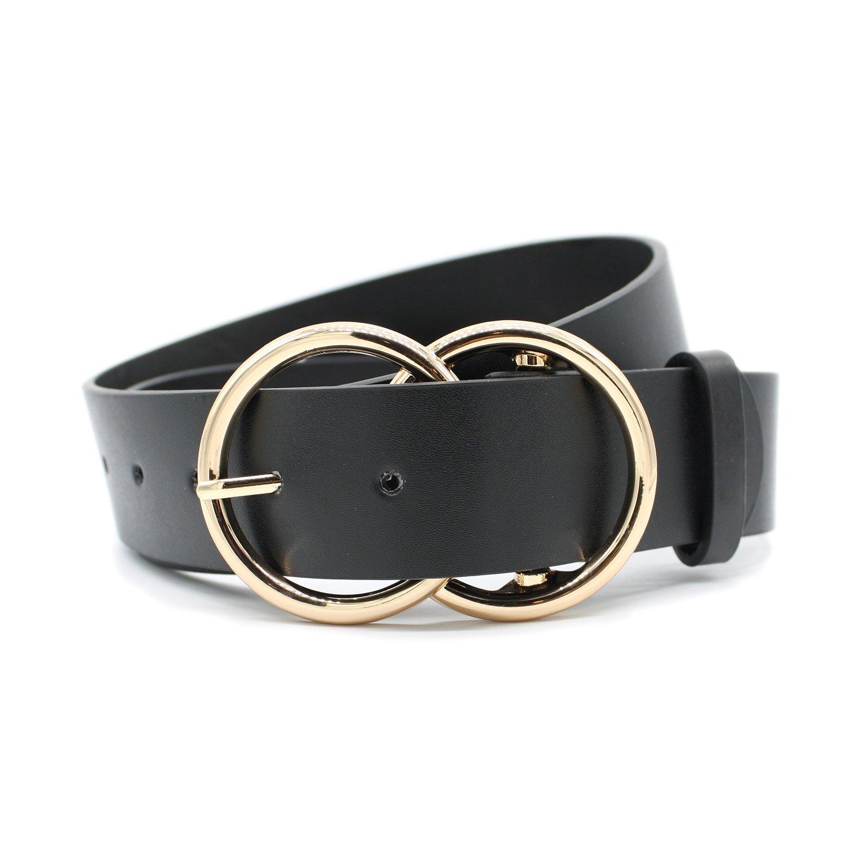 Women's Fashion 1 1/2'' Mid Width Faux Leather Double Rings Buckle Belt (GOLD-BLACK)