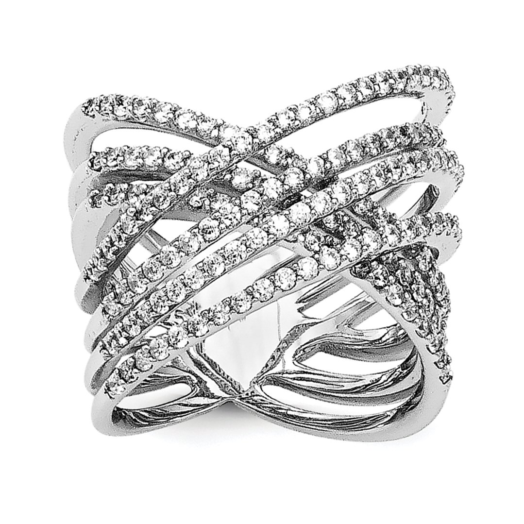 ICE CARATS 925 Sterling Silver Cubic Zirconia Cz Band Ring Size 7.00 Fine Jewelry Gift Set For Women Heart