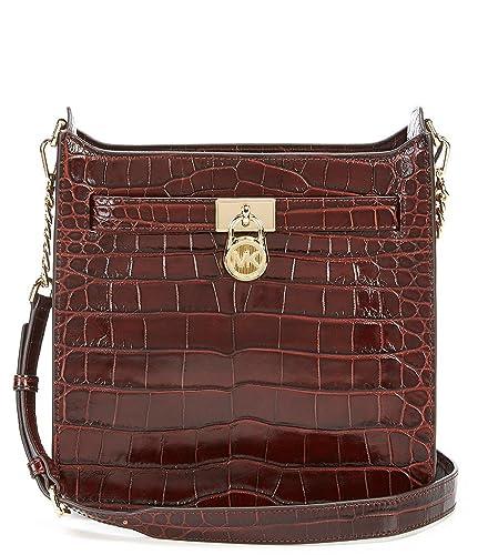 9154d40c38a363 Amazon.com: Michael Kors Hamilton medium messenger croc crossbody bag Brown  Chestnut: Shoes