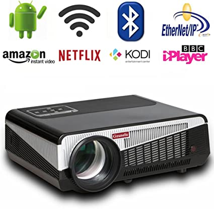 Gzunelic 6500 lumens Android WiFi 1080p Video Projector LCD LED Full HD Theater Proyector with Bluetooth Wireless Synchronize to Smart Phone by ...