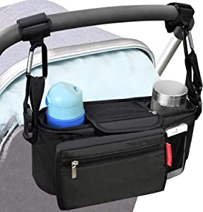 BBTKCARE Baby Stroller Organizer with Cup Holders - Secured Fit/Extra Storage/Easy Installation/Shoulder Strap - Universal Fits for Uppababy, Baby Jogger, Britax, Bugaboo, BOB, Umbrella and Pet Stroller