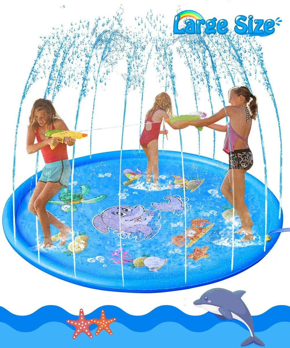 Fortunings JDS Sprinkler for Kids 68 Splash Pad Play Mat Summer Water Toys Fun for Toddler Boys Girls Children Perfect Inflatable Outdoor Party Sprinkler Pad Toy Wading Pool for Learning