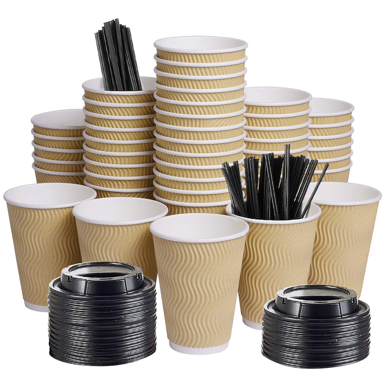 12oz 100 Packs Insulated Kraft Ripple Wall Disposable To Go Paper Coffee Cups for Office Parties Home Travel Corrugated Sleeve Hot Drink Cups with Lids & Straws (Kraft)