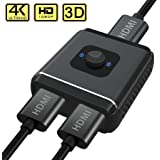 2x1 or 1x2 HDMI Switch, GANA Aluminum Bi-Directional HDMI Splitter 2 Out 1 In Switcher HDMI Selector Box 2 In 1 Out, Support 4K 1080P 3D HDCP for Nintendo Switch, PS4, PS4 Pro, PS3, XBOX, XBOX One, TV Box, Laptop, PC HDTV Projector, Monitor (Bi Switch- Aluminum-Black)