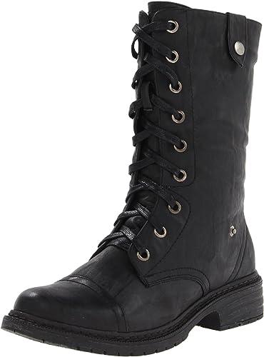 Black Cerrada Mujeres Shoes Botas Combate Wanted Crowley Punta De BI8wq6