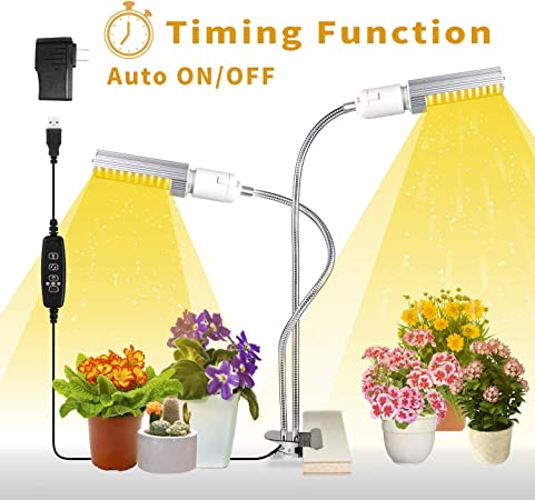 LED Grow Light for Indoor Plants Double Switch Professional for Seedling Growing Blooming Fruiting 4 Dimmable Levels Plant Light with Replaceable Bulb Relassy 50W Sunlike Full Spectrum Grow Lamp