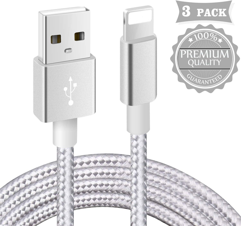 Câble Phone【Certifié_MFi】 3Pack 1m+2m+3m Tressé Nylon Câble avec Garantie de 1 an pour Phone 11/XS Max/XR/XS/X/ 8/7 Plus/ 6 Plus/ 6S/ 5S/ Se, Pad Air 2 et Plus (Argenté)