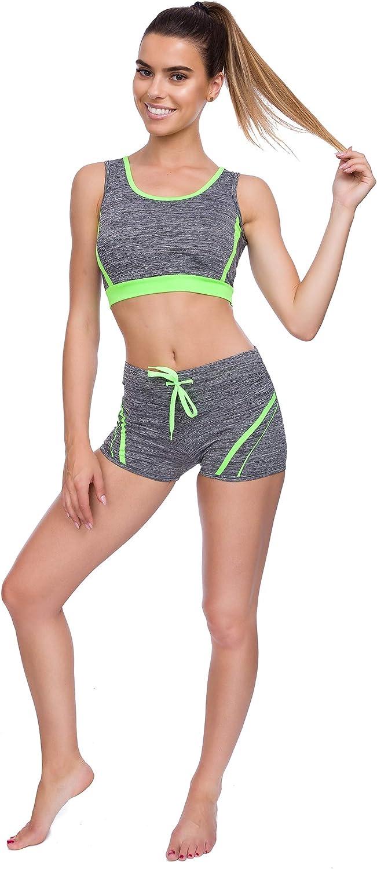 FUTURO FASHION Womes Neon Sports Set Push-Up Top Shorts with Drawstring Gym Fitness Kit FZ144
