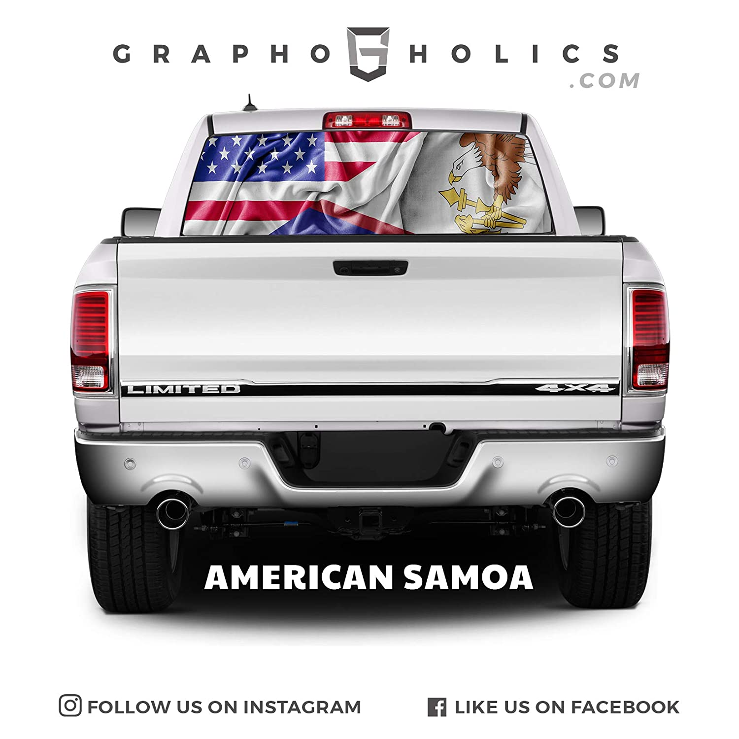 American Samoa Pick-Up Truck Perforated Rear Window Wrap