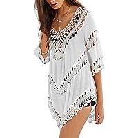 Zehui Blusa de Playa para Bikini de Verano para Mujer, Blusa Sexy con Huecos para Mujeres, Crochet Smock Beach Cover Up Tops de Punto