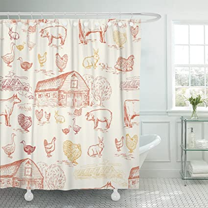 Image Unavailable Not Available For Color TOMPOP Shower Curtain Hen Farm Animals