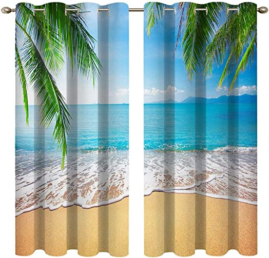 Mimihome Beach Window Curtain, Tropical Palm Leaves Window Curtain 2 Panels Blackout Curtain for Bedroom Living Room Kitchen Room, 52 x 84, Green Blue