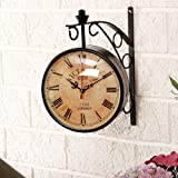 GIFTWITHSWAGGER's 8 Inch Dial Vintage antique black station double sided wall clock.