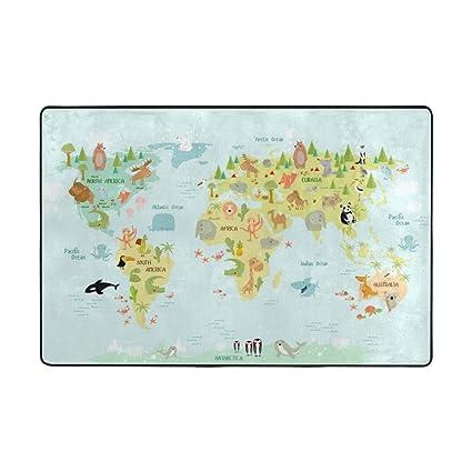 Random World Map.Amazon Com La Random World Map For Children With Animals