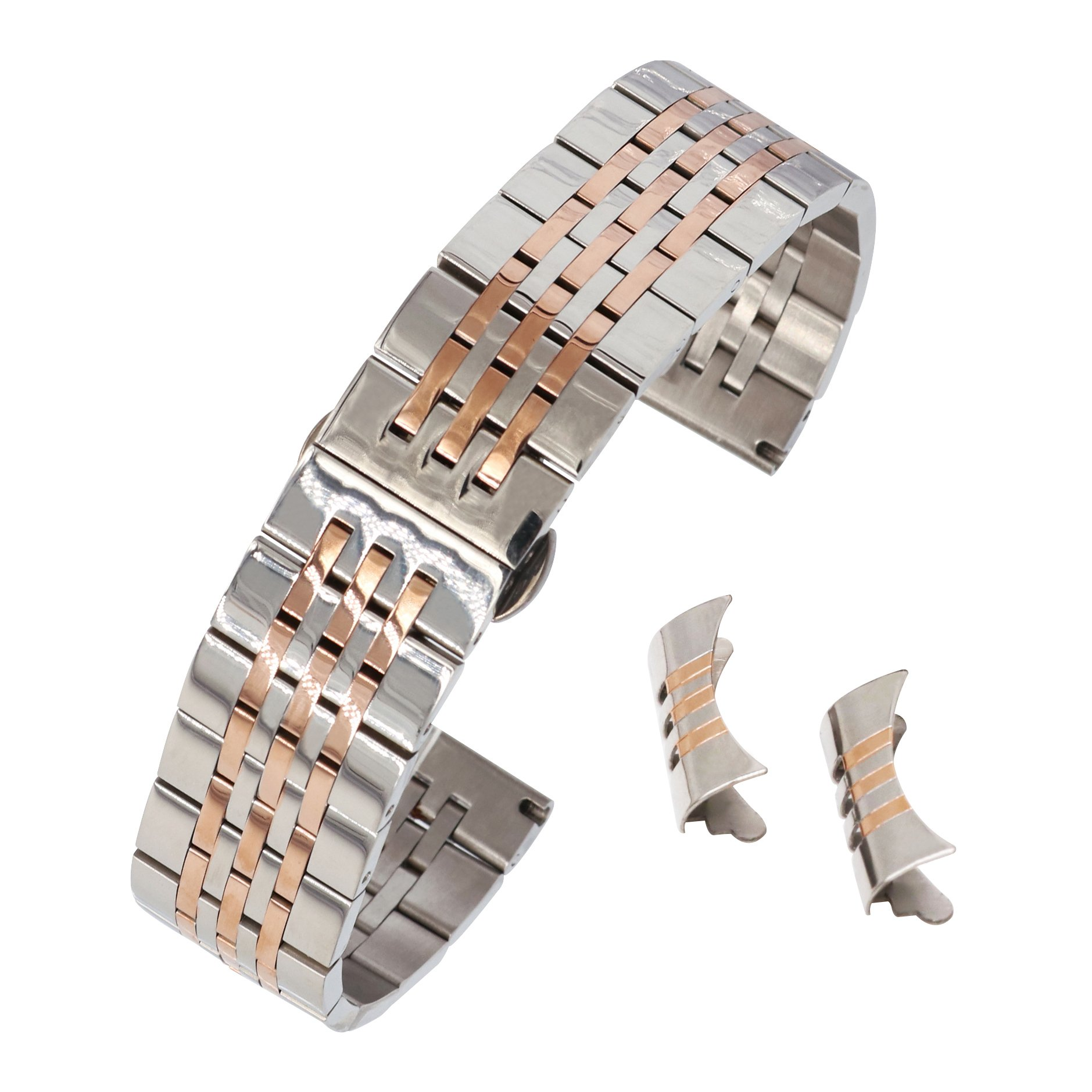 14mm Glossy Stainless Steel Watch Bracelet Metal Watch Strap Dual Tone Silver&Rose Gold Butterfly Clasp