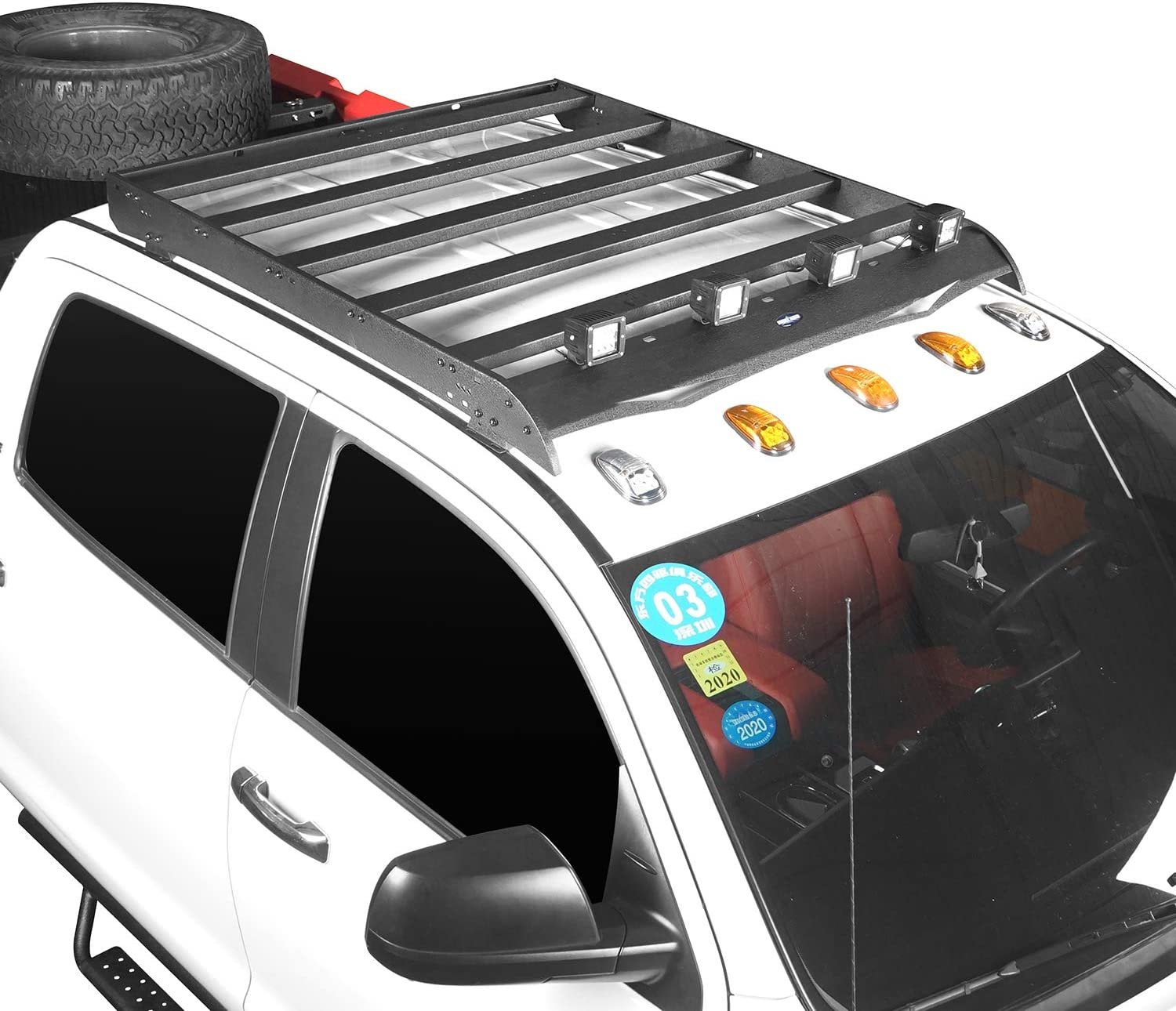 Hooke Road Tundra Top Roof Rack Cargo Carrier with 4/×18W LED Lights for 2014-2020 Tundra 4-Door Crewmax Pickup Truck
