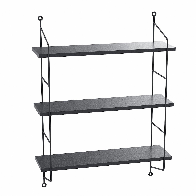 Kitchen Metal Wall Shelf: Floating Shelves Wall Mounted, Industrial Metal Frame Wood