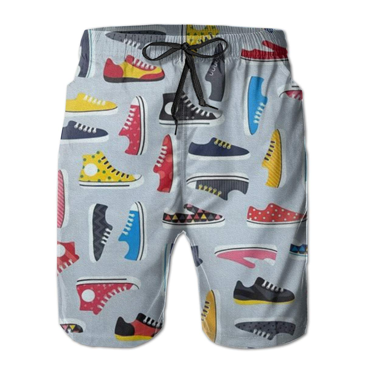 Canvas Shoes Pattern Mens Board Shorts Swim Mesh Lining and Side Pocket