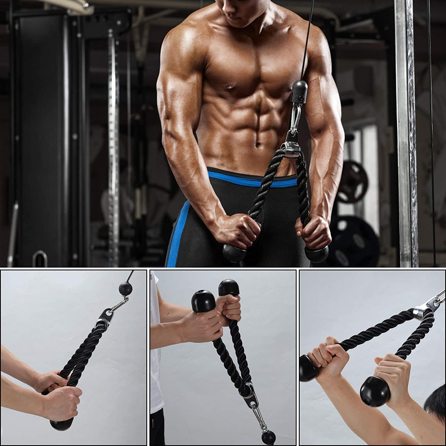 Biceps Tricep Extensions Upgraded 12 Packs Forearm Wrist Trainer Roller Cable Pulley System Home Gym Equipment Workout for Lat Pull Downs PELLOR DIY Pulley Cable Machine Attachment System