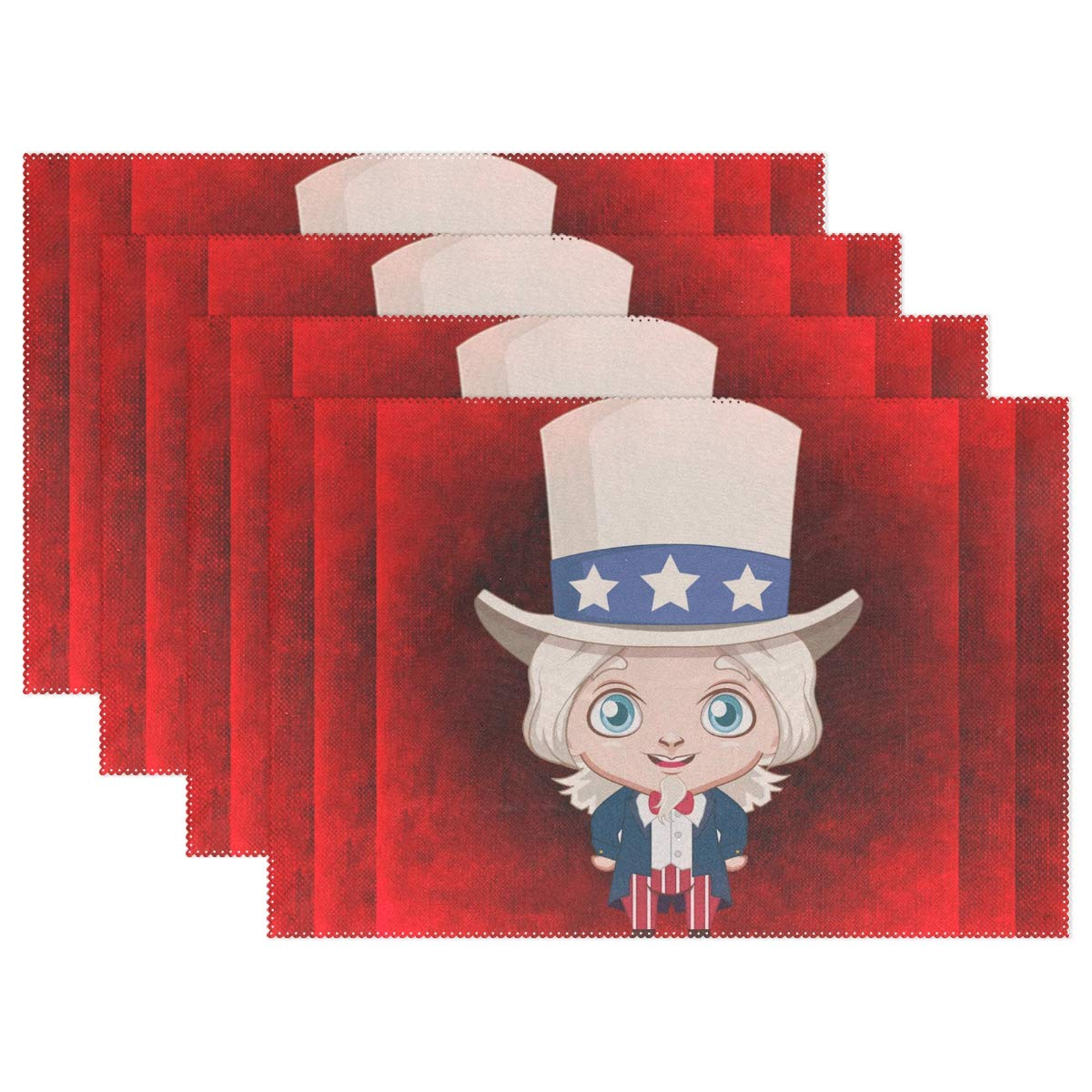 Hulahula Red America Boy Placemats Set of 4 Heat Wrinkle Resistant Antiskid Table Mats Decoration for Dinner Kitchen Table