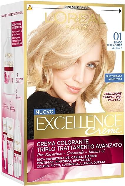 LOreal Excellence Creme 01, Tinte para cabello, rubio ultra claro natural, 3 unidades