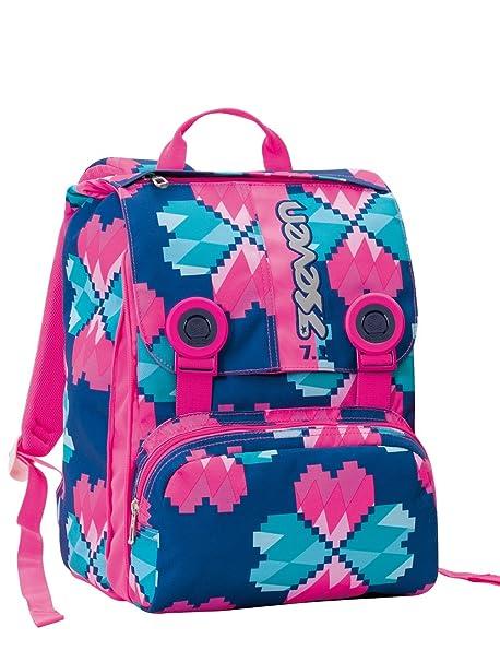 4fd3957b57 Zaino scuola sdoppiabile SEVEN - LUCKY FLOWER - Rosa e Azzurro estensibile  - 28 LT -