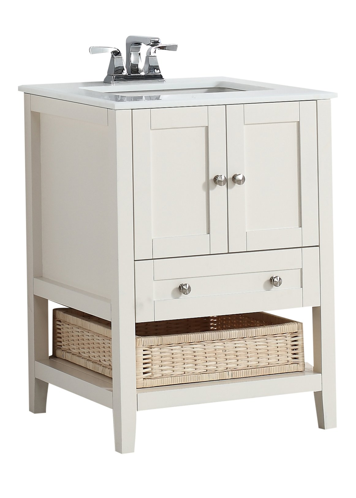 "Simpli Home 4AXCVCCW-24 Cape Cod 24 inch Contemporary Bath Vanity in Soft White with White Engineered Quartz Marble Top - Single sink bathroom vanity with two doors, one bottom drawer and open storage area with basket, hardwood frame and legs Vanity color: Off White with Brushed Nickel knobs Overall Vanity Size with Top: 25"" w x 21.5"" d x 34.5"" h - bathroom-vanities, bathroom-fixtures-hardware, bathroom - 715HYa8bdZL -"