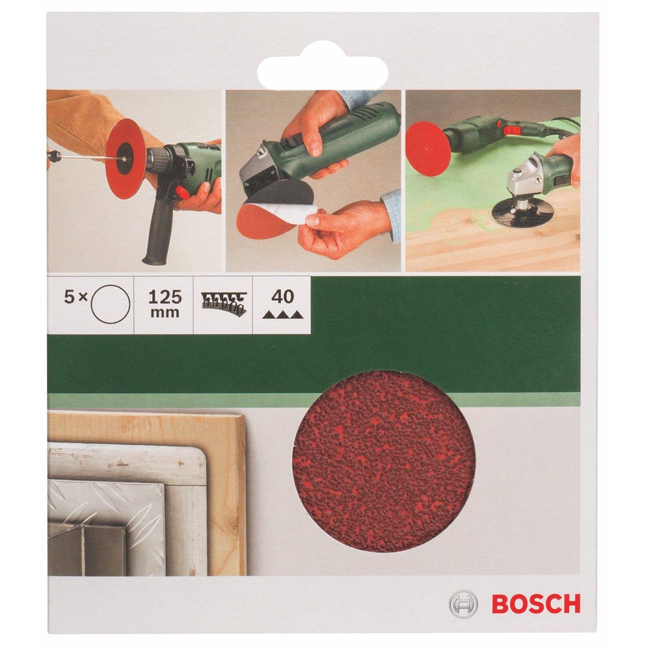 Bosch 2 609 256 A25 Juego de hojas de lija de 5 piezas para lijadora exc/éntrica