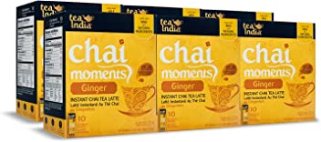 Tea India Chai Moments Instant Ginger Tea, 10 Count (Pack of 6)