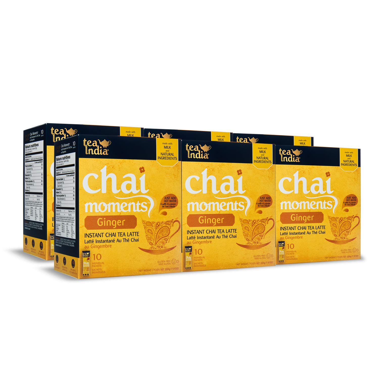 Tea India Chai Moments, Ginger, Instant Chai Tea Latte, 10 Count (Pack of 6)