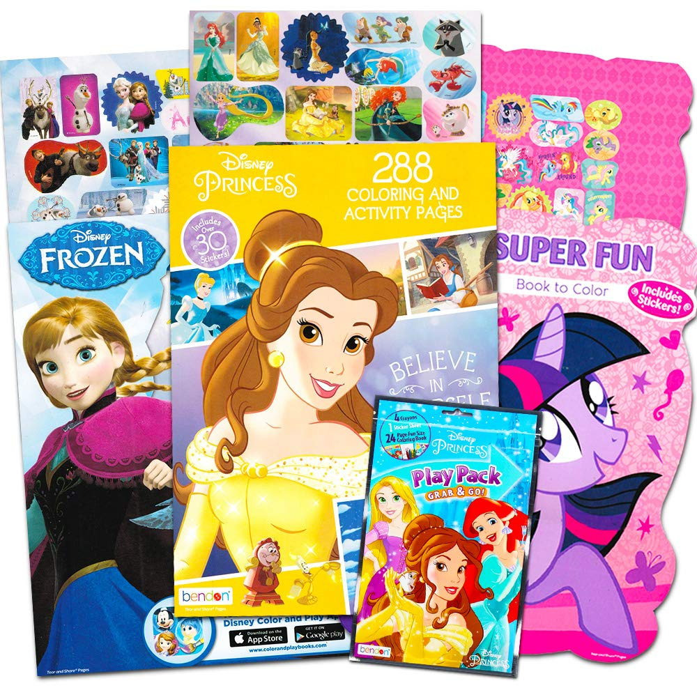 Disney MLP Coloring Book Super Set for Girls -- 3 Giant Coloring Books  Featuring Disney Princess, Frozen and My Little Pony (Includes Disney  Princess ...
