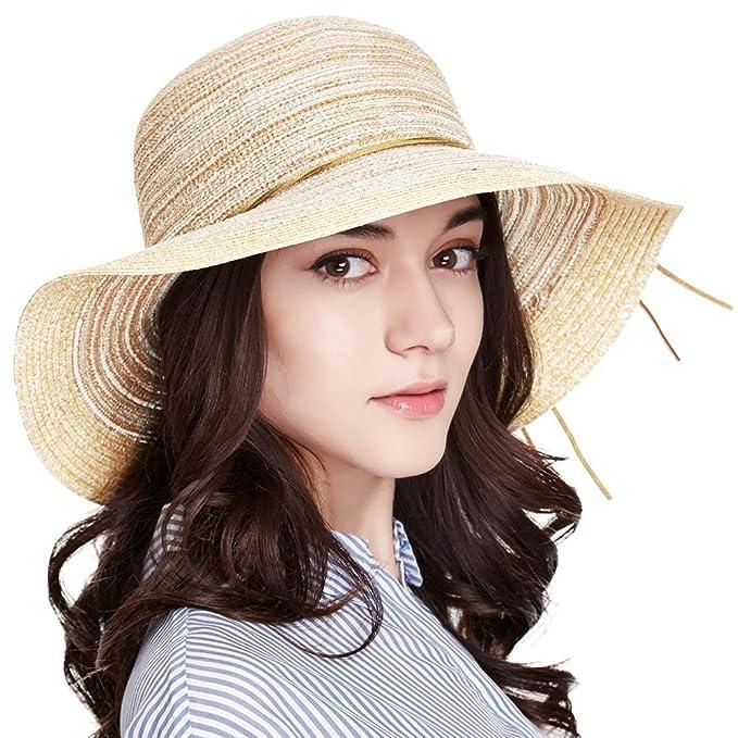 27b7a27ce47 ENJOYFUR Floppy Summer Beach Hats for Women