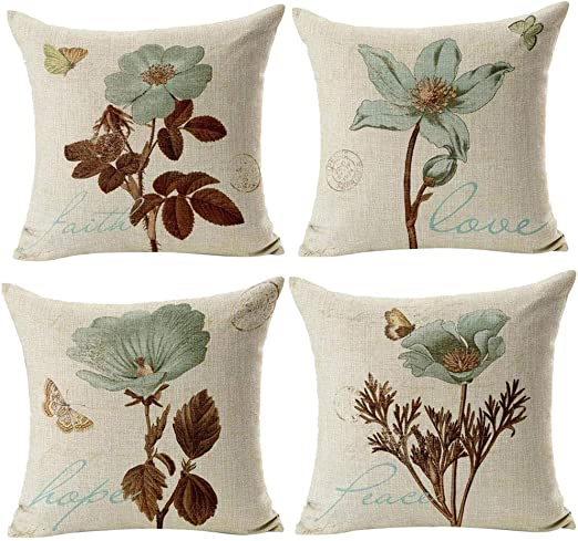 Gspirit 4 Pack Retro Flor Algodón Lino Throw Pillow Case Funda de ...
