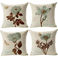 Gspirit 4 Pack Gorgeous Tree Algodón Lino Throw Pillow Case Funda de Almohada para Cojín 45x45 cm