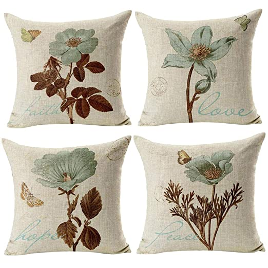 Gspirit 4 Pack Retro Flor Algodón Lino Throw Pillow Case Funda de Almohada para Cojín 45x45 cm