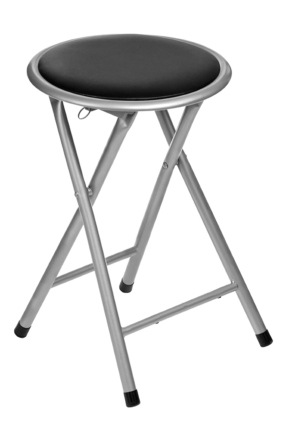 Premier Housewares Round Folding Stool   Black: Amazon.co.uk: Kitchen U0026 Home