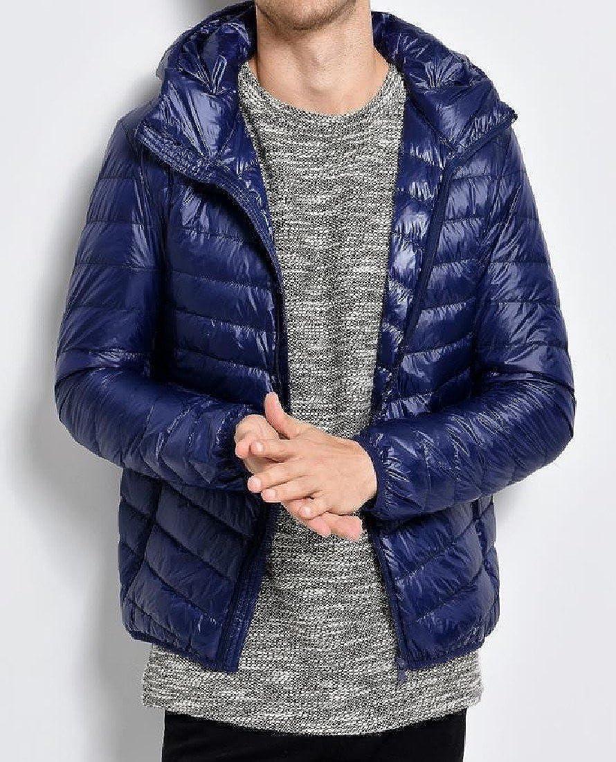 XiaoShop Mens Packable Hooded Outwear Puffer Ultra Light Weight Down Coat