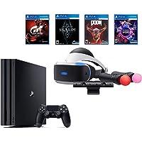 PlayStation PS4 Pro Bundle (6 Items): VR Starter Bundle, PS4 Pro 1TB Console= Jet Black, 4 Game Discs: Gran Turismo Sport, Skyrim, Doom, and VR Worlds