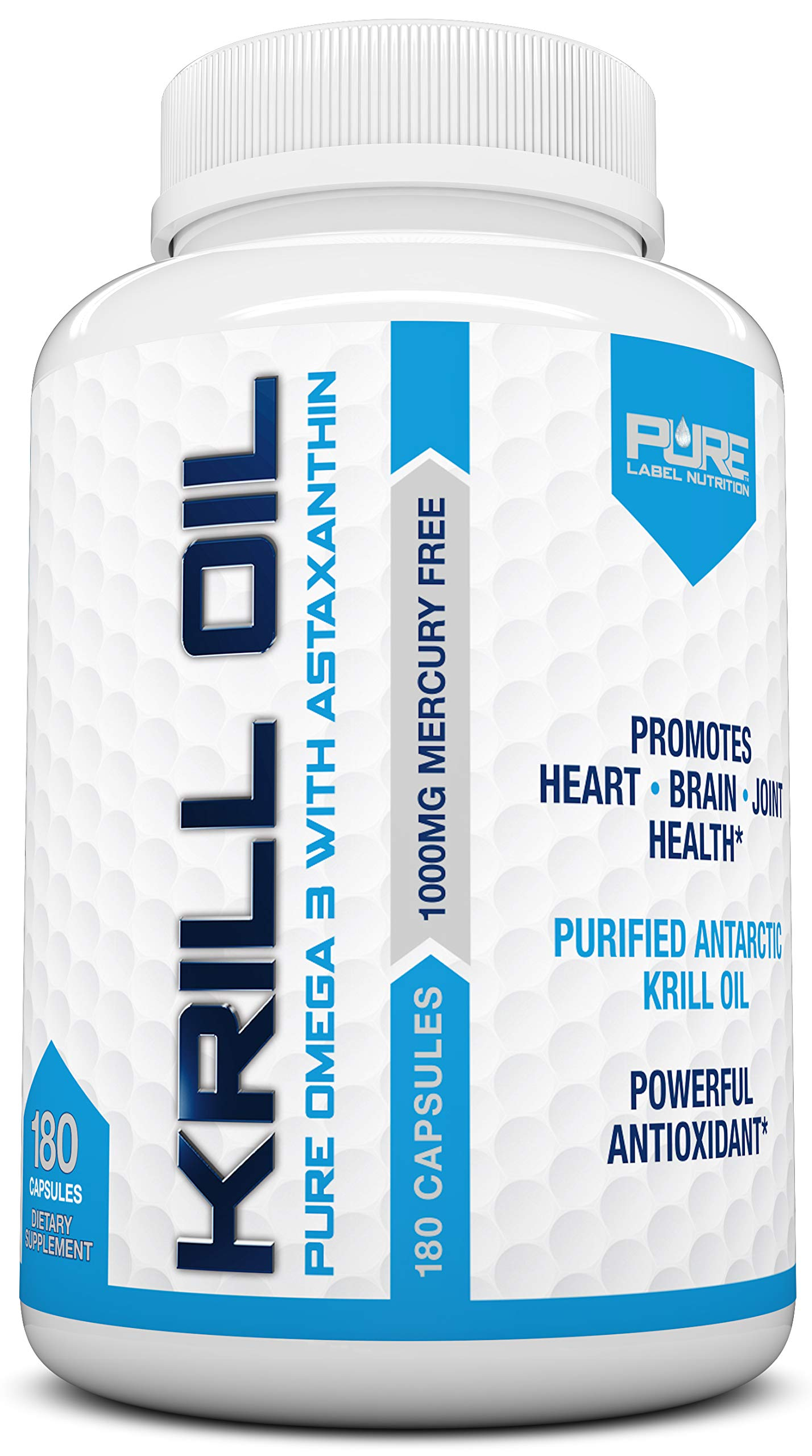 Krill Oil 1000mg with Astaxanthin 180 Caps Omega 3 6 9 - EPA DHA - 100% Purified, Mercury Free and Wild Caught - Non GMO - Gluten Free - Pure Krill Oil - Mega Dose Phospholipids (180 Capsules) by Pure Label Nutrition