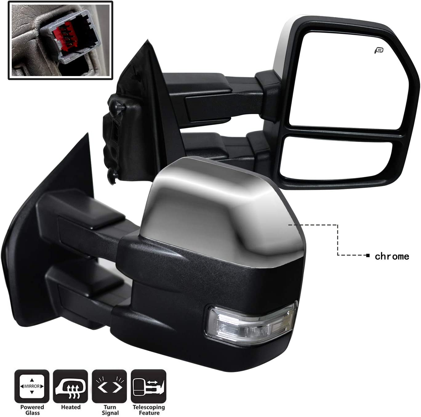 AERDM New towing mirror Chrome Housing with Temperature sensor fit 2015-2018 F150 Towing Mirrors w//Turn Signal Auxiliary Lamp