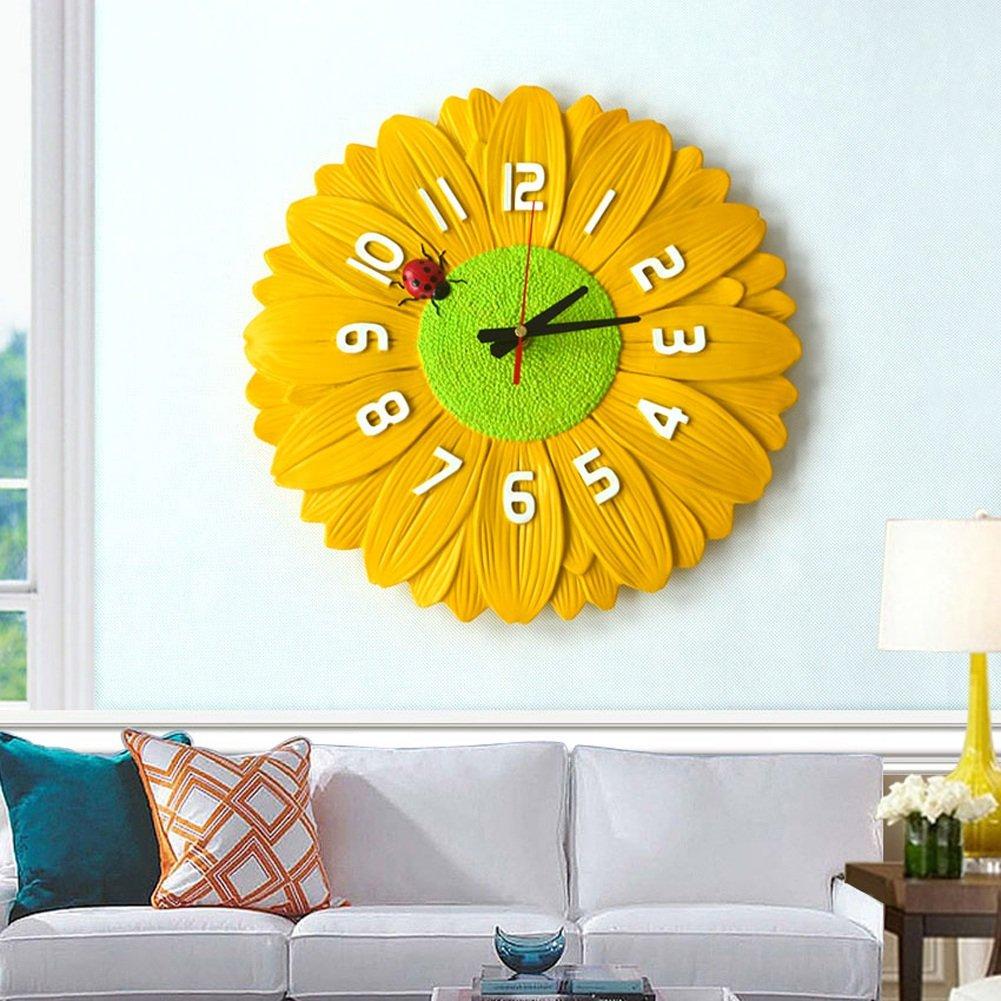 花の壁時計かわいい家の装飾の寝室36センチメートル (色 : イエロー いえろ゜) B07DT8BBKWイエロー いえろ゜