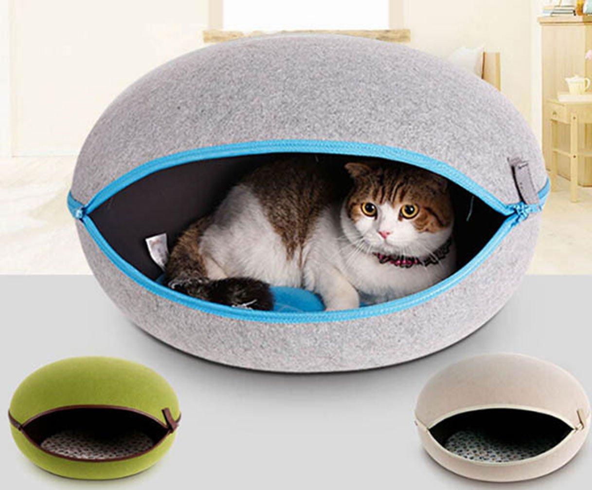 La Vie - Cama para mascotas con forma de huevo acogedora y cojín extraíble en el interior para cachorros y perros pequeños, color verde, gris, beige, ...