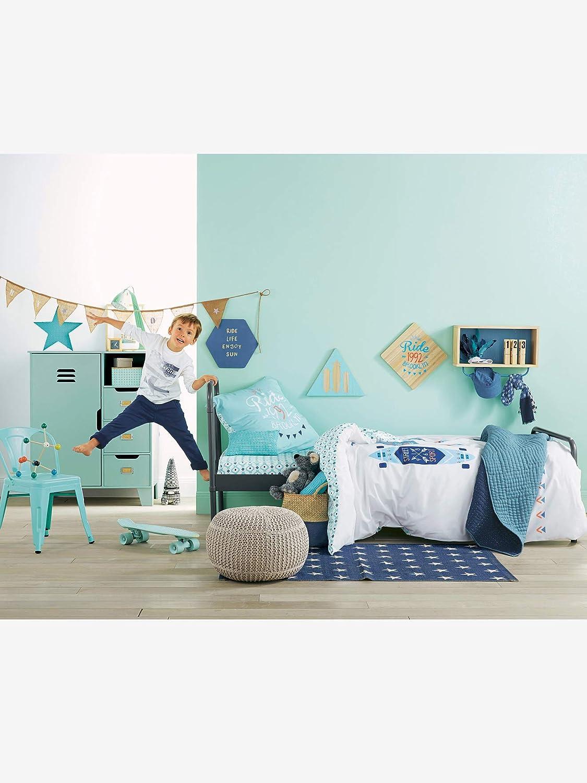VERTBAUDET Drap-housse enfant BROOKLYN STATE Blanc//bleu 90X190