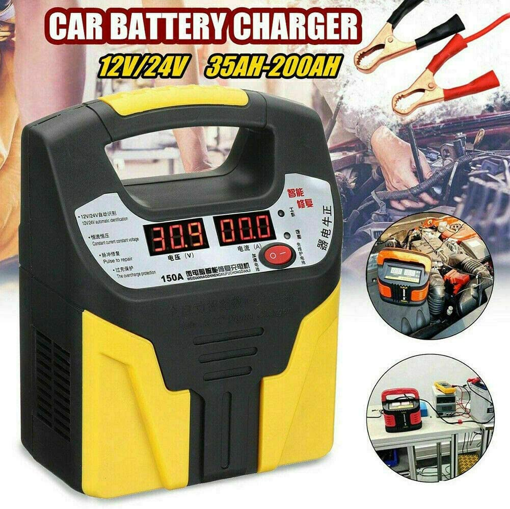 Riloer Cargador de Batería para Automóvil, Cargador y Mantenedor Automático de Batería 360W 15A 12V-24V con Pantalla LCD, Utilizado para Cargar, Mantener y Reparar Varios Vehículos