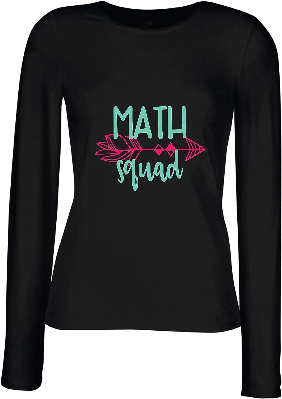 lepni.me Camisetas de Manga Larga para Mujer Matemáticas Cuadrado Geek Nerd Álgebra Geometría Regalo de Maestro