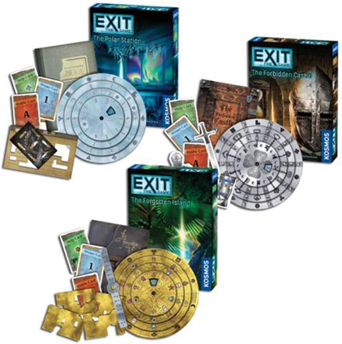 Thames & Kosmos Exit Games: Polar Station, Forbidden Castle, and Forgotten Island (Set of 3)