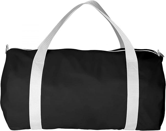 ZUZIFY Old School Nylon Sports Barrel Duffel Bag. GO1015 One Size Black 75ffe14b3c6