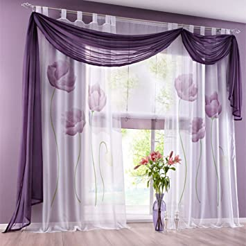 Amazon De Lila Gardine Vorhang Schlaufenschal Deko Fur Wohnzimmer